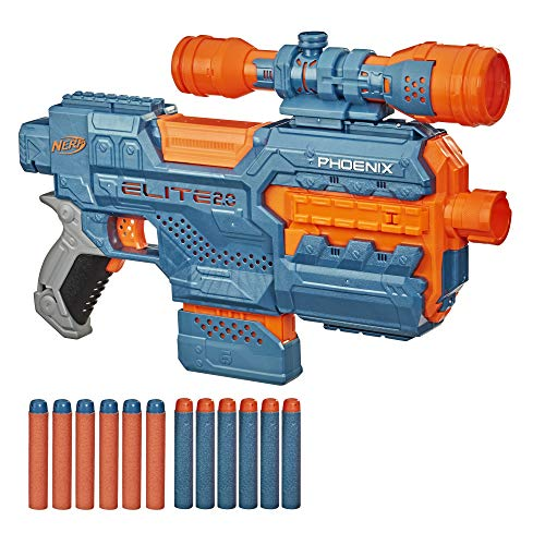 NERF Elite 2.0 Phoenix CS-6 Motorized Blaster, 12 Official Darts, 6-Dart Clip, Scope, Tactical Rails, Barrel and Stock Attachment Points