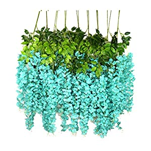 iWisteria 36 Pack 3.6FT Artificial Hanging Flowers Wedding Decoration Arch Greenery Vines Ceremony Backdrop Fake Wisteria Silk Party String Home Rattan Plants Bush Plastic Garland