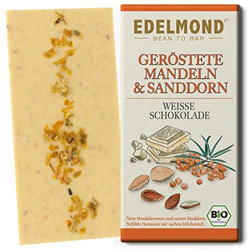 Edelmond Bio weiße Schokolade mit Sanddorn und frisch gerösteten Mandeln. Fruchtig und glutenfrei. (1 Tafel)