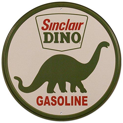 Sinclair Dino essence Plaque en métal rétro rond - 30 x 30 cm