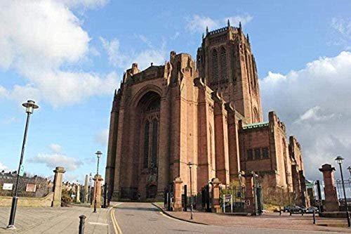 Puzzle de 1000 Piezas de Rompecabezas de Madera Rompecabezas de Madera para Adultos-Regalo-DIY Rompecabezas Decorativo Regalo Juego de Rompecabezas Juguete de Ocio-Liverpool Cathedral Cloud Building