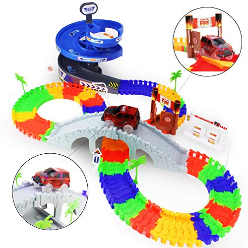 Image of Boley Builders Race Car Track - Kids Customizable 96 Piece Track Playset with Spiral Ramp, Arch Bridge, Toy Jeep and More - Build The Ultimate Race Tracks for Boys and Girls!