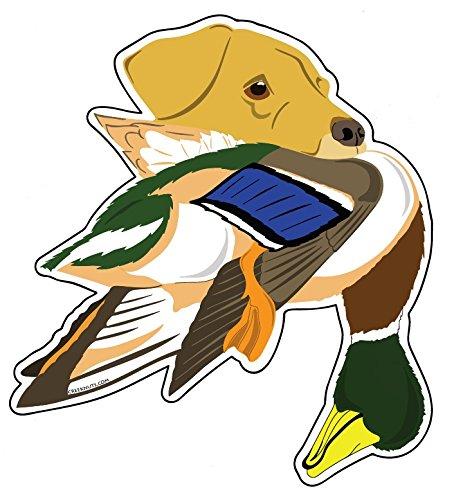 Pegatina de labrador amarillo con pato Mallard 7 pulgadas