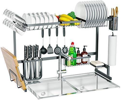 Skywin - Soporte para platos de cocina sobre el fregadero, 15 piezas, 2 estantes para encimera sobre el fregadero, estante de platos de acero negro