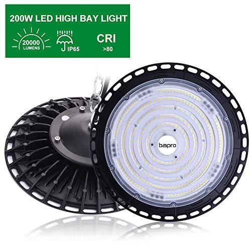 200W LED UFO Strahler 20000LM LED Industrielampe, Werkstattlampe Hallenstrahler Hallenbeleuchtung 6500K Kaltweiß 120°Abstrahlwinkel IP65 Wasserdichte Bergbaulampe für Fabrik, Industrie (1 Pack, 200W)