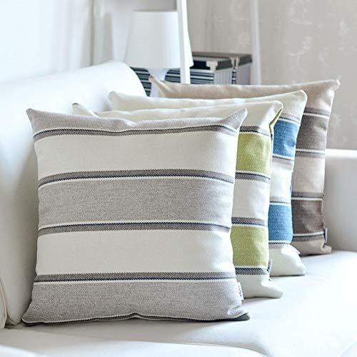 YULO Funda de cojín de diseño a rayas, diseño cuadrado, para casa, oficina, coche, funda de almohada para sofá, 30 x 50 cm, color marrón