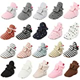 HsdsBebe Unisex Newborn Baby Cotton Booties Non-Slip Sole for Toddler Boys Girls Infant Winter Warm Fleece Cozy Socks Shoes (A/pink&grey, 6_months)
