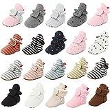 HsdsBebe Unisex Newborn Baby Cotton Booties Non-Slip Sole for Toddler Boys Girls Infant Winter Warm Fleece Cozy Socks Shoes (A/light grey, 0_months)