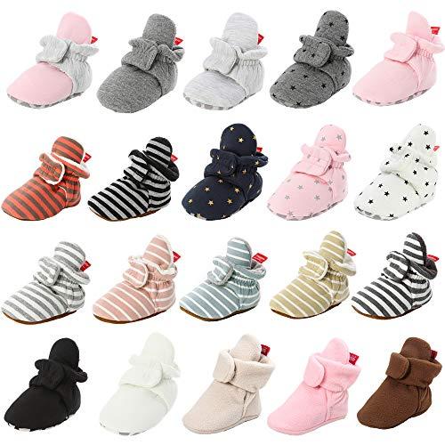 HsdsBebe Unisex Newborn Baby Cotton Booties Non-Slip Sole for Toddler Boys Girls Infant Winter Warm Fleece Cozy Socks Shoes(M1920 black,1)