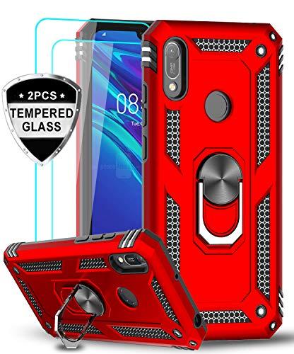 LeYi für Huawei Y6 2019/Y6s Hülle Honor 8A Handyhülle mit Panzerglas Schutzfolie(2 Stück), 360 Grad Magnetische Ringhalter Cover TPU Bumper Schutzhülle für Case Huawei Y6 2019 Handy Hüllen Rot