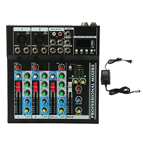 Mixer Console with USB Interface,4 Channel Live Studio Stereo Audio Mixer Sound Mixing