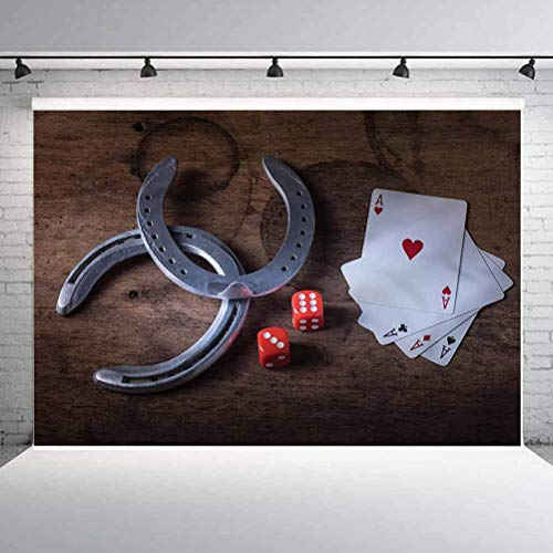 6x6FT Vinyl Backdrop Photographer,Western,Card Game Dices Horseshoes Background for Baby Birthday Party Wedding Studio Props Photography