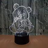 Yddlie Night Light Cute Panda 3D Night Light Illusion 3D Light LED 7 Cambio de Color USB Touch lámpara de Escritorio, Adecuada para Regalos de Amantes de Perros