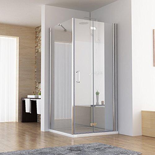 120 x 75 x 197 cm Duschkabine Eckeinstieg Dusche Falttür Duschwand mit Seitenwand NANO