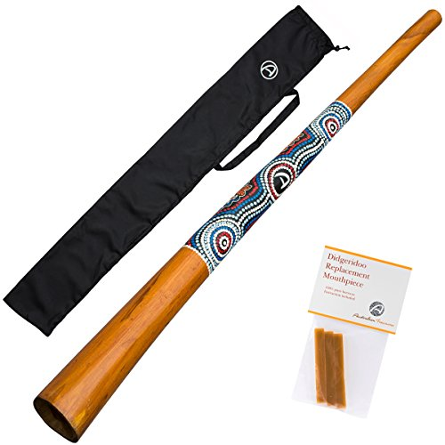DIDGERIDOO NATURAL PAINT: Didgeridoo including beeswax and nylon didgeridoobag LENGHTH: didgeridoo 51'' BEESWAX: 3 pieces of pure beeswax for mouthpiece LEVEL: beginner/ advanced COLOR: brown with paintings