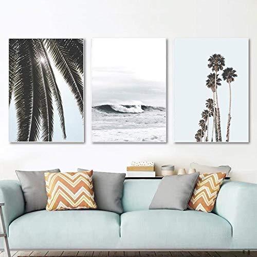 YDH Arte de Pared Tropical Palmeras Impresiones océano póster Paisaje Marino Lienzo Pintura nórdica Cuadros de Pared para Sala de Estar decoración costera-50X70Cmx3 sin Marco