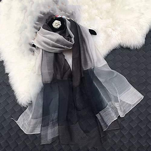 Bufanda De Seda Para Mujer,Señoras Elegante Bufanda Abrigo Suave Seda Pura Bufandas De Punto Bordado De Flores Seda De Morera Gradiente Negro Blanco Chal De Playa Moda Ropa Al Aire Libre Regalo Para