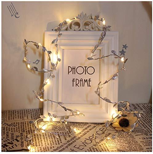 2,2 m koperdraad met LED-lantaarn, lichtketting met bladeren, kerstverlichting, kerstboom, bruid, modesieraad, zilver