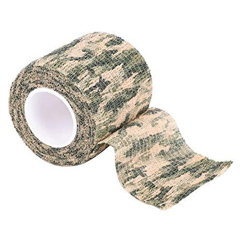 Tbest Camo Wrap, Camo Stretch Bandage Nastro Militare Mimetico Sostituzione per Caccia a Pistola, Armi da Fuoco, coltelli, Torcia elettrica(Camouflage di Erba)