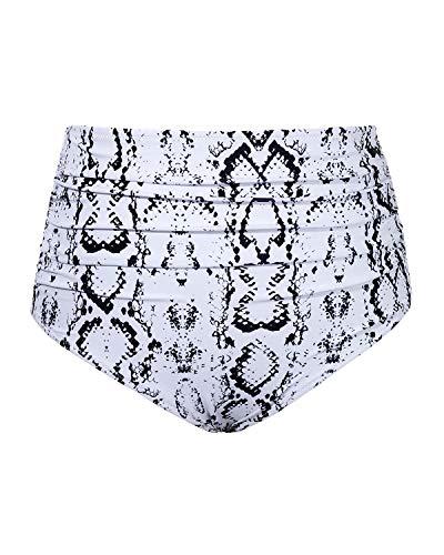 Tempt Me Women Retro High Waist Bikini Bottom Snakeskin Ruched Swim Brief Short L