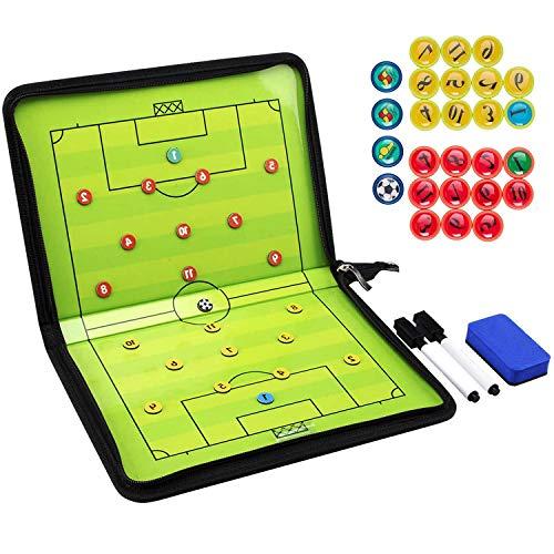 KELOFO Tableau Tactique de Football Pliable - pour Coaches - avec Pièces de Marquage - Stylo, Gomme...