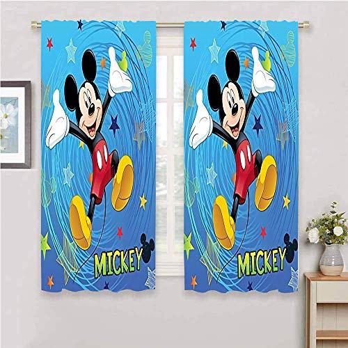 CAJISO Cortinas con ojales de Mickey Mouse, con tratamiento de privacidad para ventanas que mantienen el calor, cortinas para puerta corredera, cortina de ventana para sala de estar, 42 x 63 pulgadas