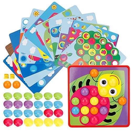 01 Giocattolo per Unghie con Bottoni per Bambini, 45 Pezzi Fai-da-Te per Unghie con Bottone a Fungo, plastica con Superficie Liscia per Bambini di età Superiore a 3 Anni