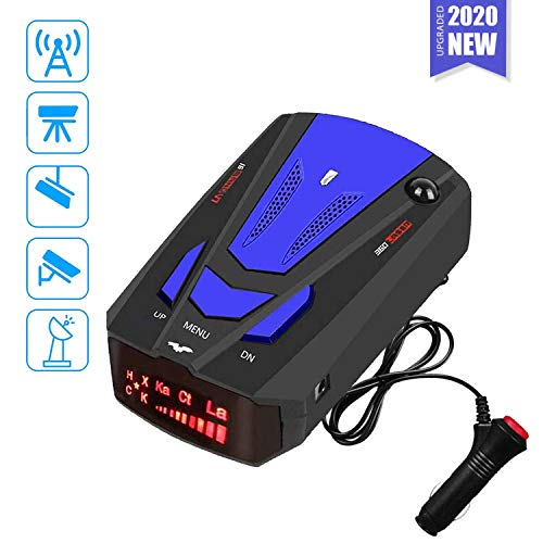 Laser Radar Detector for Cars,Voice Prompt Speed, Vehicle Speed Alarm System,LED Display,City/Highway Mode,Auto 360 Degree Detection for Cars Blue(FCC)