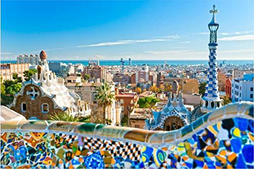 Mini Rompecabezas en Miniatura de 1000 Piezas para Adultos Barcelona Cartón Puzzle Brain Ejercicio Desafío Juego de Alta dificultad Regalo para niños Niños 38 * 26cm