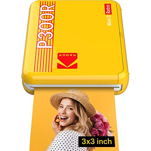 Kodak Mini 3 Retro - Tragbarer Fotodrucker, IOS, Android und Bluetooth, 76 x 76 mm, 4-Pass-Technologie und Laminierung - Gelb - 8 Blatt