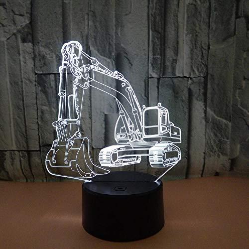 Excavadora 3d luz de la noche del coche led dormitorio decoración de la cabecera niño niño regalo del bebé luces de noche decoración del hogar
