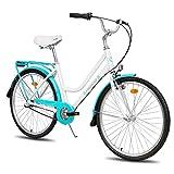 Hiland 26 inch Cruiser Bike for Women Alluminum Frame Shimano Nexus Inter-3 Three Speed Retro-Styled Hybrid Bike Bicycle