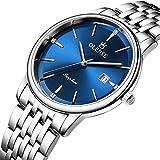 Relojes, relojes de marca de alta gama, relojes impermeables para hombres, relojes de cuarzo de acero inoxidable, relojes de pareja sencillos y de moda, adecuados pa blue