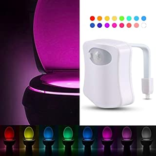 Kingcenton LED Toilet Bowl Light, Auto Activated Bathroom Night Light with Advanced Motion Sensor, and Human Body Motion Sensor, 8 Colors Changing