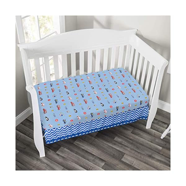 EVERYDAY KIDS Baby Boy Fitted Crib Sheet Police, Fire and Rescue, 100% Soft Microfiber, Breathable and Hypoallergenic Baby Sheet, Fits Standard Size Crib Mattress 28in x 52in, Nursery Sheet