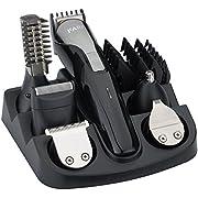 FARI Multigroom-Set für Gesicht, Haare und Körper, Bartschneider und Haarschneider für Männer, 11 Aufsätze (schwarz/metal)