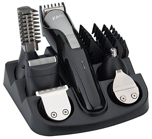 Set tagliacapelli per barba FARI, kit per toelettatura da uomo per rifinitore facciale per naso e baffi con ricarica USB (Nero)