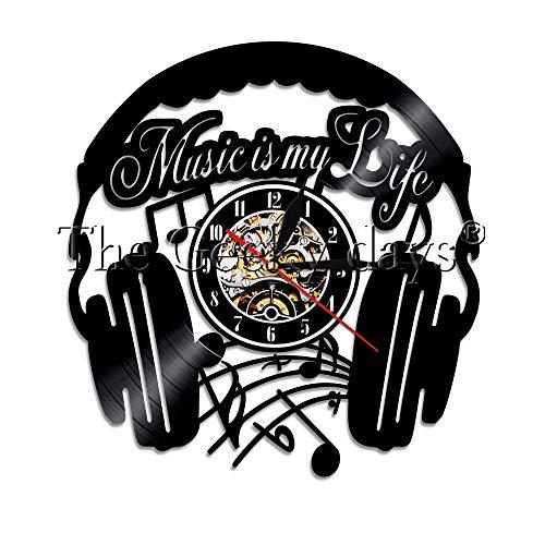 FDGFDG Musik ist Mein Leben Schallplatte Wanduhr Home Decor Wanduhr Kopfhörer Zeituhr Rockmusik Liebhaber Fans Geschenk