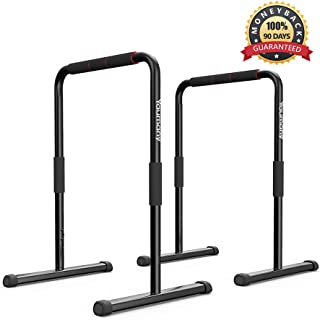 Yaumany Dip Bars, Dip Stands-Fitness Parallette Dip Bars for Body Strenthener,Pull-Ups,Push-Ups,L-Sits