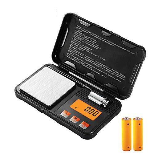 Escala de gramos, escala digital pequeña para malezas, mini báscula de bolsillo para joyería con pantalla LCD, escala de gramos y onzas de alta precisión de 200 g x 0,01 g