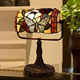 Lavish Home Tiffany Style Bankers Lamp-Stained Glass Butterfly Design Table or Desk Light LED Bulb Included-Vintage Look Colorful Accent Décor