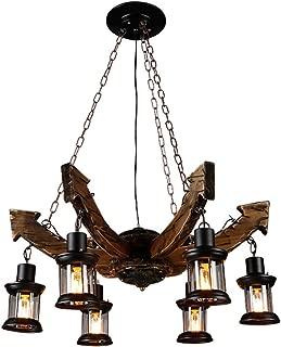 TOMSSL Vintage Chandelier Wrought Iron Solid Wood Old Living Room Lamp Restaurant Bar Cafe Chandelier 6 Anchor Chandelier