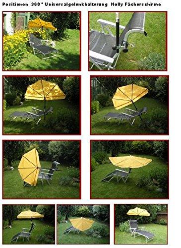 Soleil Liegen – Set – 5,5 Kg – Stabielo légère – Bracelet Lehen – Relax – Loisirs chaise longue avec coussin de nuque réglable – en aluminium – chaise longue de jardin – Camping – 190 x 62 x 29 cm – Accoudoirs réglables – Couleur : titanium + compartiments Parapluie Holly 'Sun® – Couleur maïs jaune + pivotant à 360 ° universel gelenkhalterung – Distribution par Holly® produits Distribution Stabielo® – Holly Sunshade®