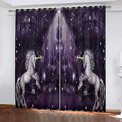 fgjorics Tende Oscuranti 3D Star Unicorn Tende Stampate Decorative per La Casa Tende Oscuranti Tende Termoisolanti per Camera da Letto dei Ragazzi 250 (H) X140 (L) Cmx2
