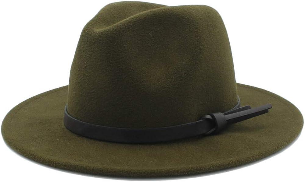 L.W.SUSL Men Women Winter Fedora Hat with Belt Pop Panama Jazz Hat Wide Brim Church Fascinator Hat