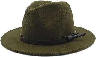 SHENTIANWEI Men Women Winter Fedora Hat with Belt Pop Panama Jazz Hat Wide Brim Church Fascinator Hat Casual Hat Size 56-58CM