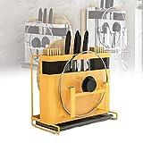 台所用品ホルダー、ストレートナイフホルダー、排水トレイ付きスチールポットカバーホルダー(複数の食器を収納できます)