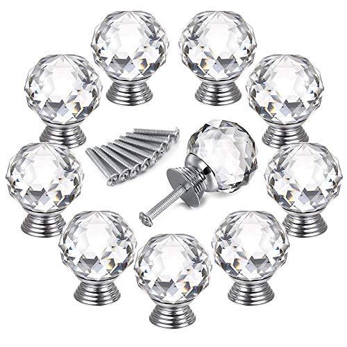Auped Set di 10 Pezzi Pompelli Manopole di Cristallo 30MM con Vite Manopole a Forma Diamante Rotondo Trasparente Set Maniglia per Porte Armadietti Cassetti e Guardaroba Accessori Mobili.