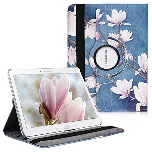 kwmobile Hülle kompatibel mit Samsung Galaxy Tab 4 10.1 T530 / T535-360° Tablet Schutzhülle Cover Hülle - Magnolien Taupe Weiß Blaugrau