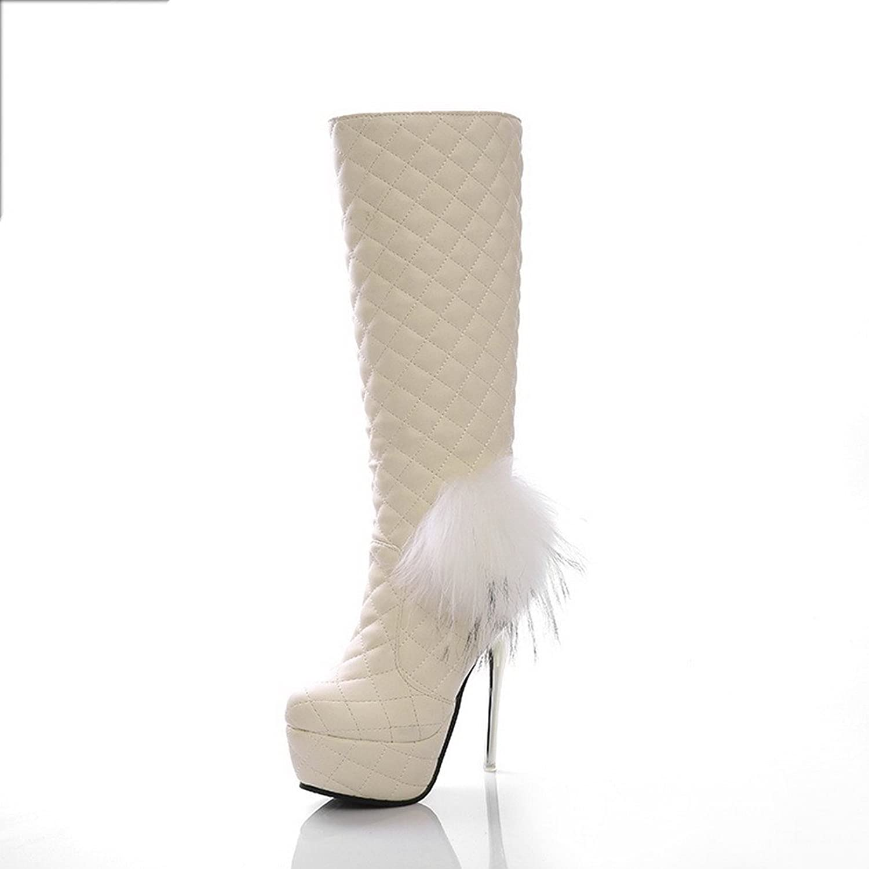 Weit Weit Weit Poot Woherrar Soft Material Checkerad Closed Toe stövlar med Tråd och Slipping Sole  online shopping sport